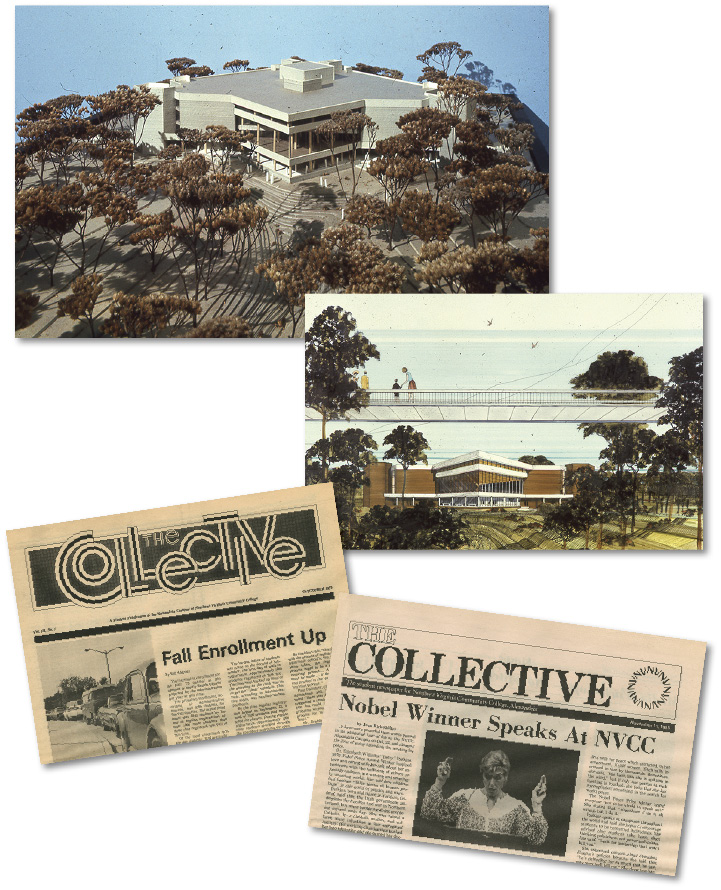 Top: Digitally archived materials include these early sketches of the Alexandria Campus of Northern Virginia Community College. Bottom: Newspapers published by students at the Alexandria Campus of Northern Virginia Community College—October 24, 1975, and November 11, 1985.