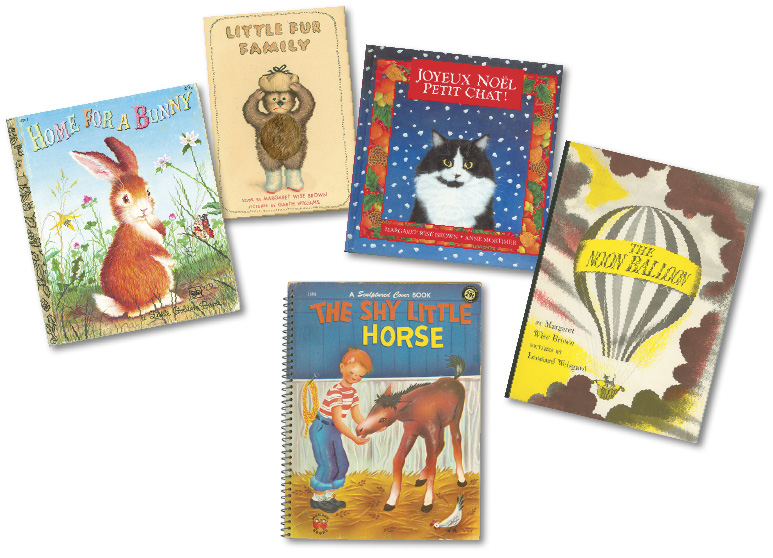 Photograph of 5 picture books by Margaret Wise Brown: Home for a Bunny, Little Fur Famly, Joyeux Noel Petit Chat!, The Moon Balloon, and The Shy Little Horse.