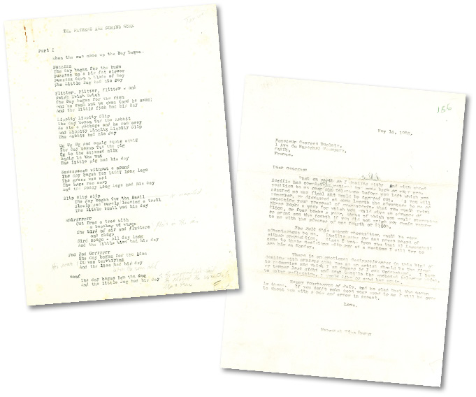 Left, manuscript page from The Fathers Are Coming Home by Margaret Wise Brown, first published in 2010. Right, letter from Margaret Wise Brown to Georges Duplaix (Simon & Schuster), May 16, 1952, Correspondence Series.
