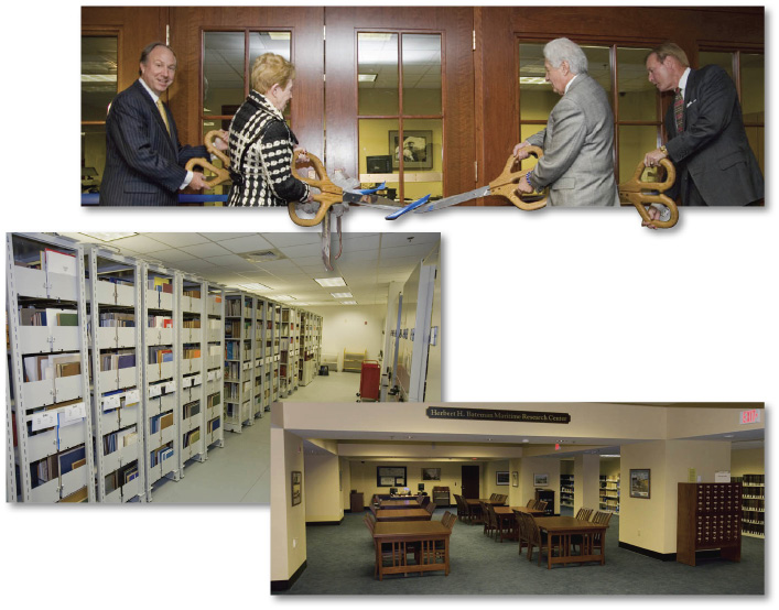 Above:the grand opening of The Mariners' Museum Library at Christopher Newport University, Left:The Mariners' Museum Library's newly installed compact shelving, Below:The Mariners' Museum Library's Reading Room