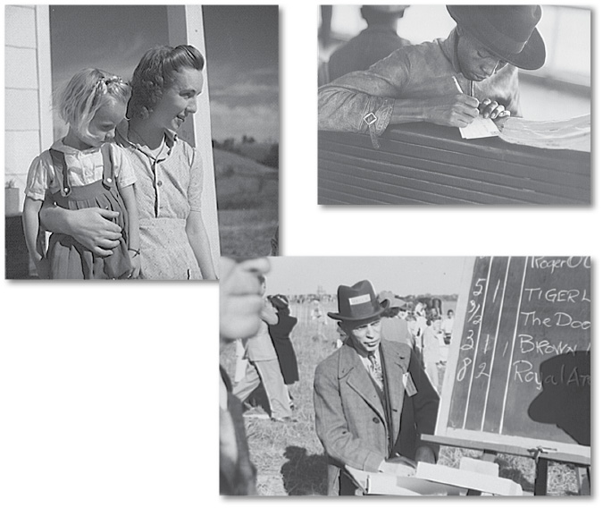 Top Left: Galax woman and her daughter, 1941, Top Right: Migratory worker on the Norfolk-Cape Charles ferry writes a postcard home to his parents, 1940, Bottom Right: Bookie at the Warrenton racetrack, 1941