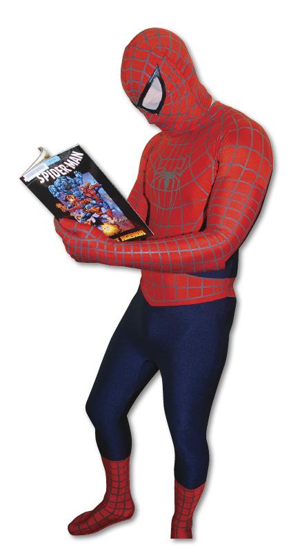 Spider Man reading 'Spider Man'