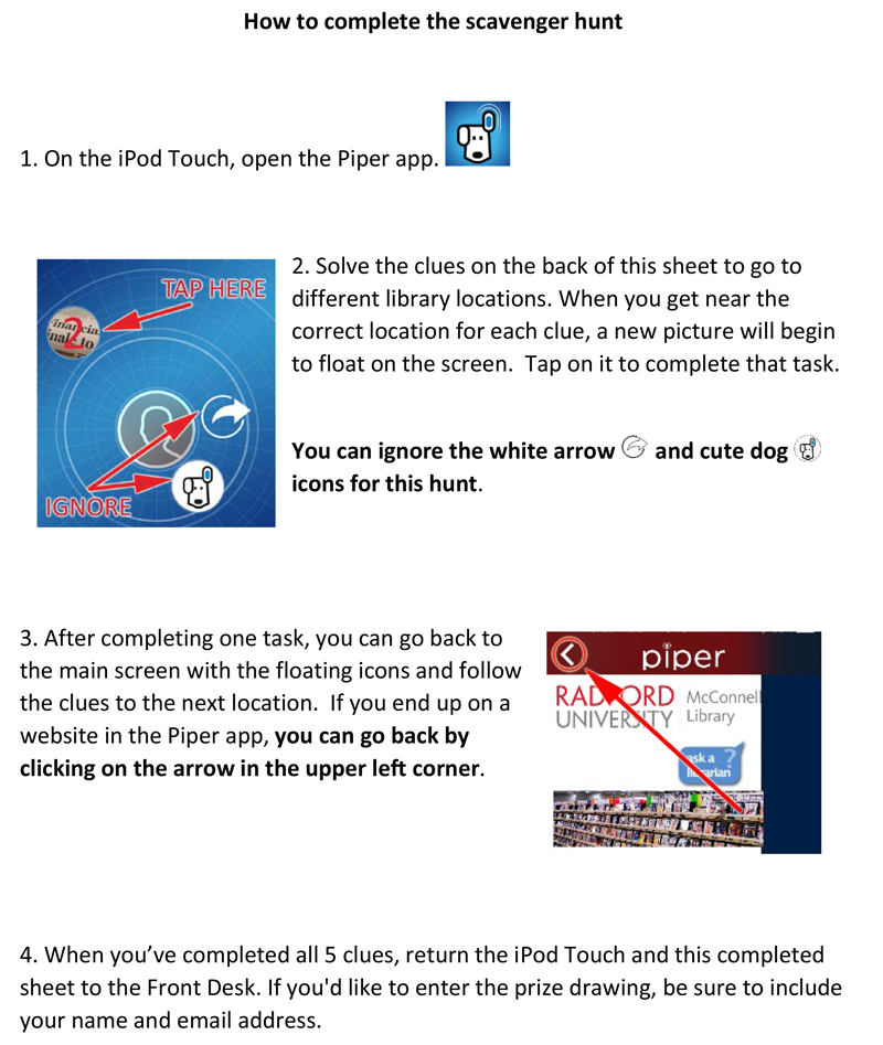 Instruction sheet for how to use the Piper app