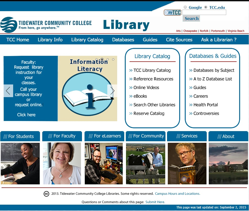 a screenshot image of the previous TCC library website homepage. It shows a blue bar with category headings across the top, a photo carousel of changing images on the left middle with two lists of links in bordered rectangles titled Library Catalog and Databases and Guides. Across the bottom are categories for students, faculty, eLearners, community, services, about, each of which shows a picture of a representative person. Copyright date is 2013.