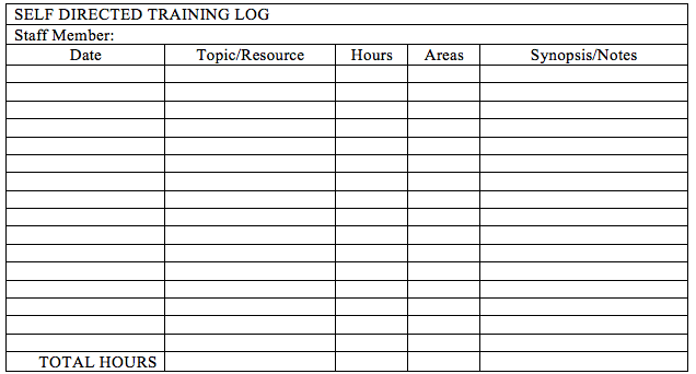 a table labeled self directed training log. The table features an area for staff members to put their name. It has columns for date, topic/resource, hours, areas, and synopsis/notes. A space for total hours is given at the bottom of the table