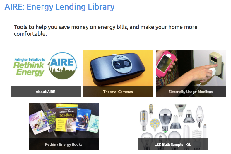 thermal camera, enegry use monitor, LED light bulbs, books, and other items assciated with saving energy.