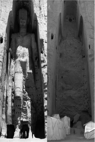 Buddha of Bamiyan Before and After Destruction. 987 x 814 pixels. Courtesy of Wikimedia Commons.