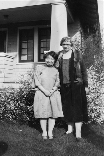Ava B. Milam and Caroline Chen, a student from Yenching, China. 1,823 x 3,187 pixels. Stored at Oregon State University Special Collections and Archives, Courtesy of Wikimedia Commons.
