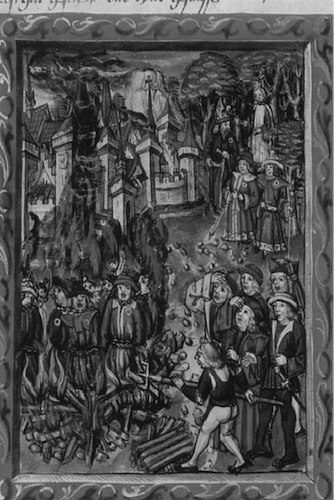 Jews Identified by Rouelle are being Burned at Stake. 577 x 700 pixels. Courtesy of Wikimedia Commons.
